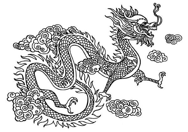Mythological dragons 35 dragon coloring pages and pictures for Chinese new year dragon coloring page