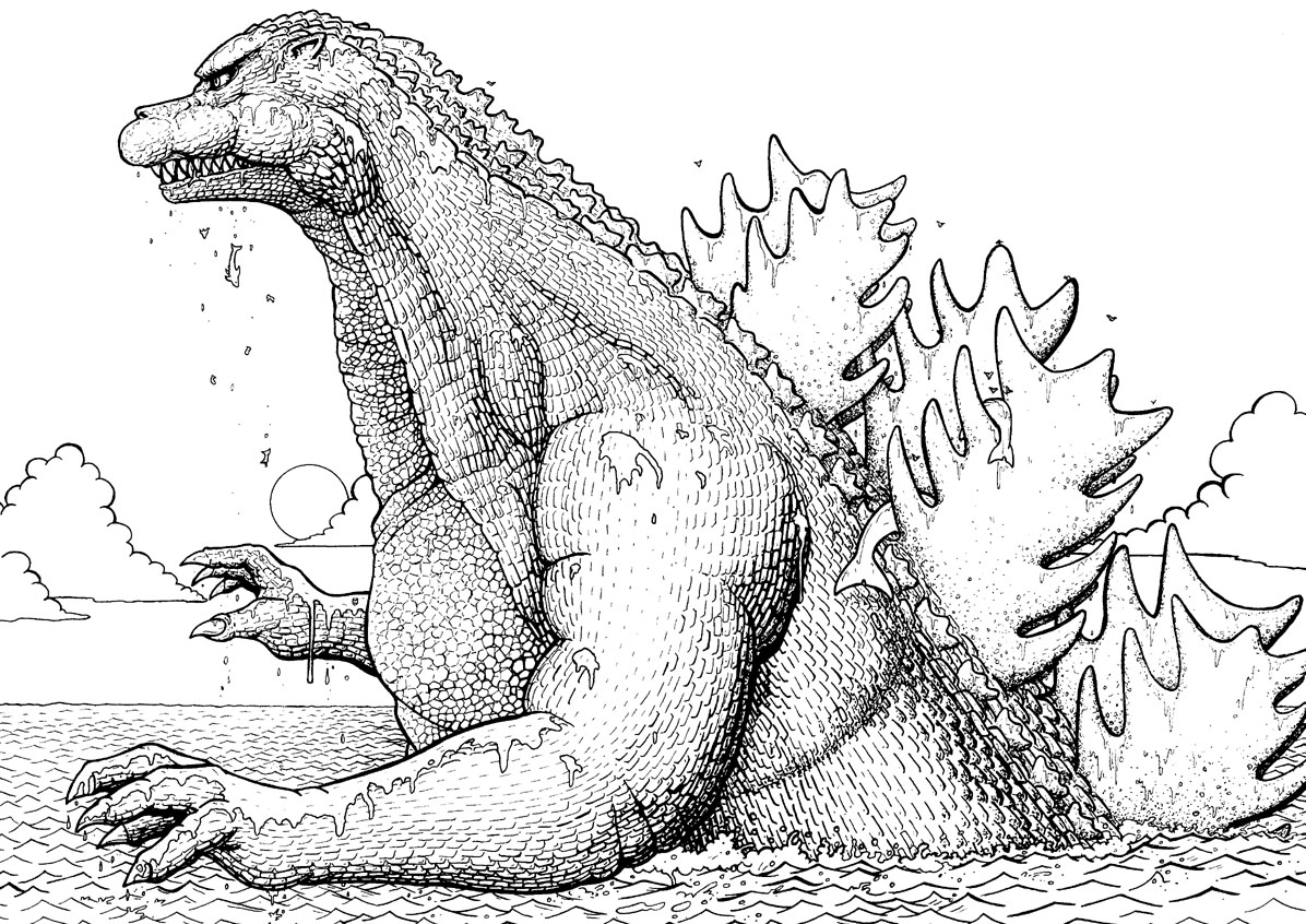recreational break 10 godzilla coloring pages and pictures print color craft