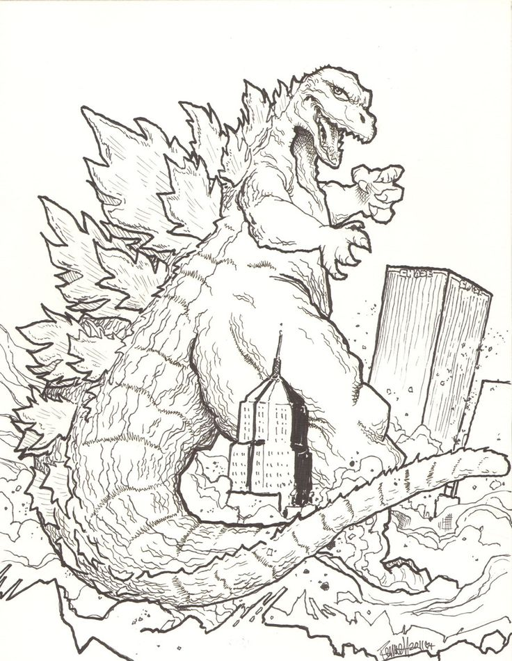 godzilla coloring page to print,printable,coloring pages