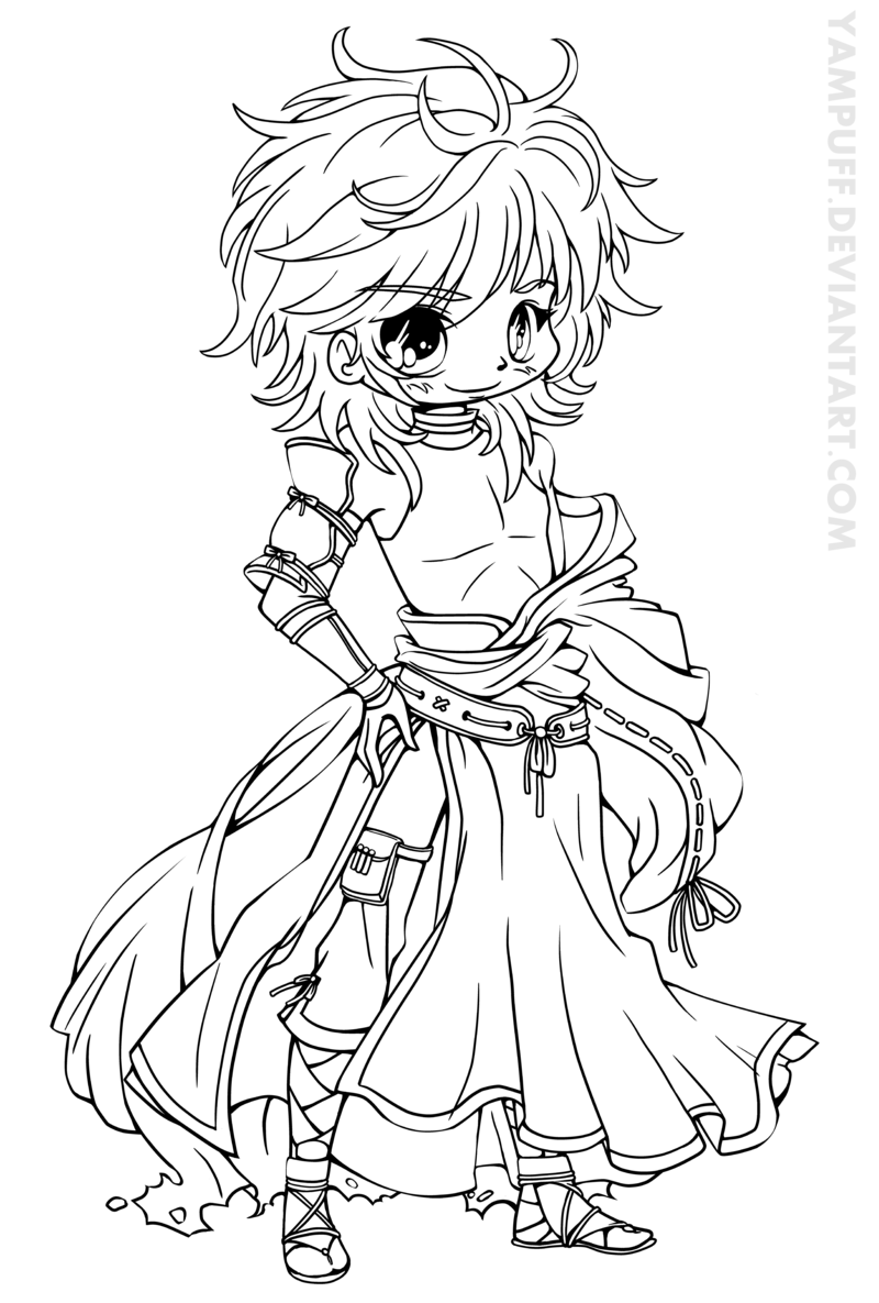 Cute Chibi Coloring Page To Printprintablecoloring Pages