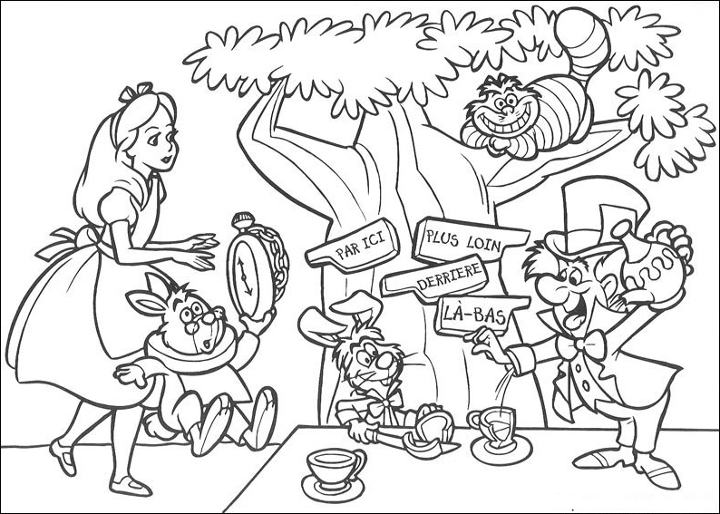 13 coloring pictures alice in wonderland - Print Color Craft