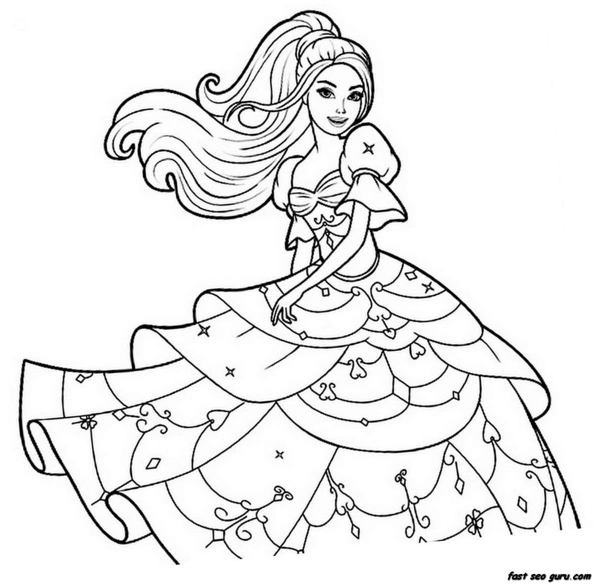 barbie coloring pageprintablecoloring pages - Barbie Coloring Page