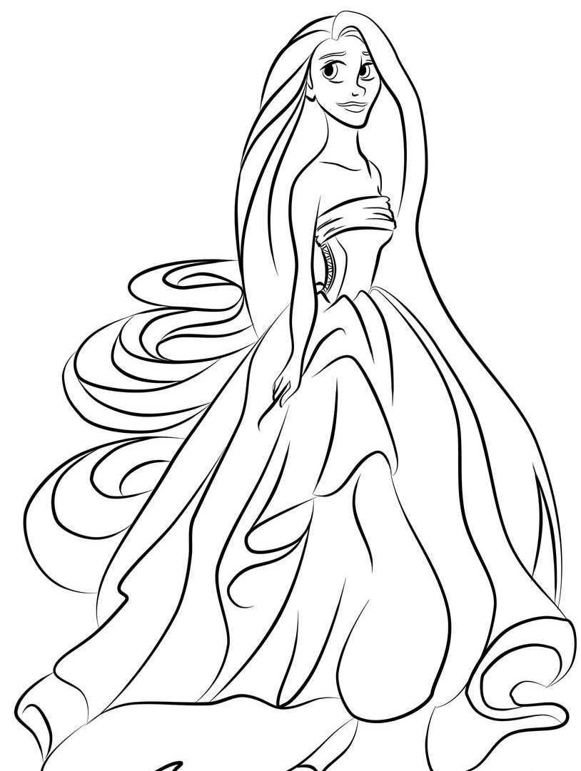 Printable Pictures Of Beautiful Rapunzel Pageprintablecoloring Pages