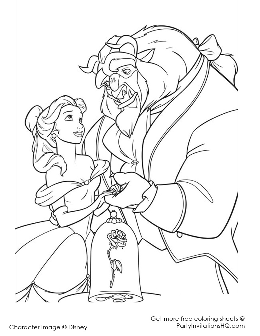 beauty and the beast coloring pages and pictures print color craft