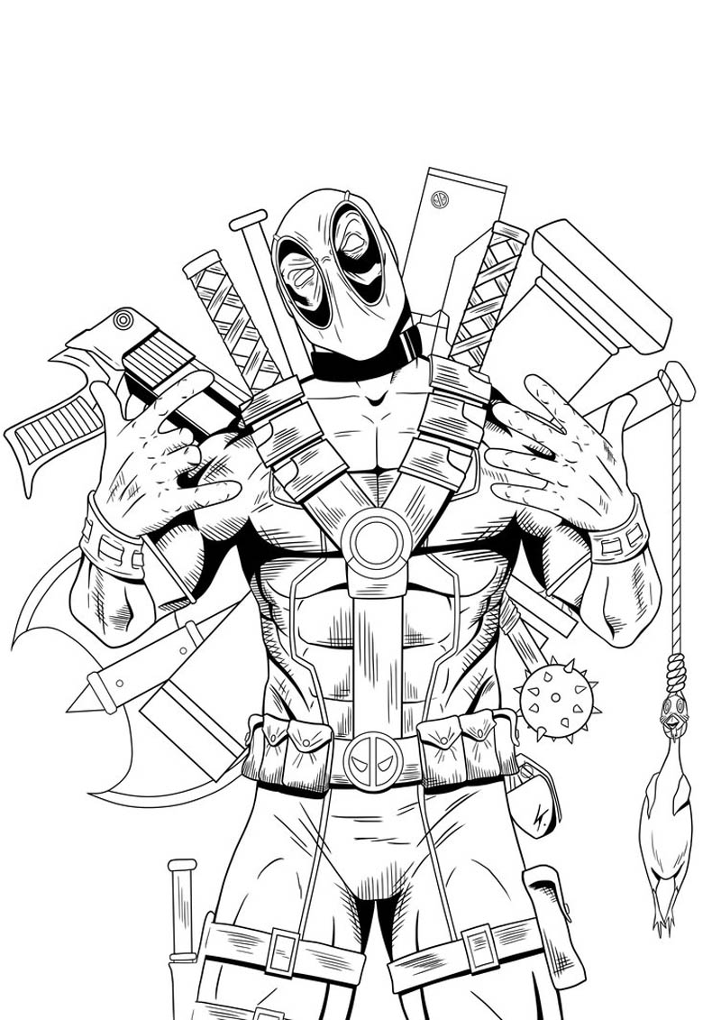 deadpool coloring pages,printable,coloring pages
