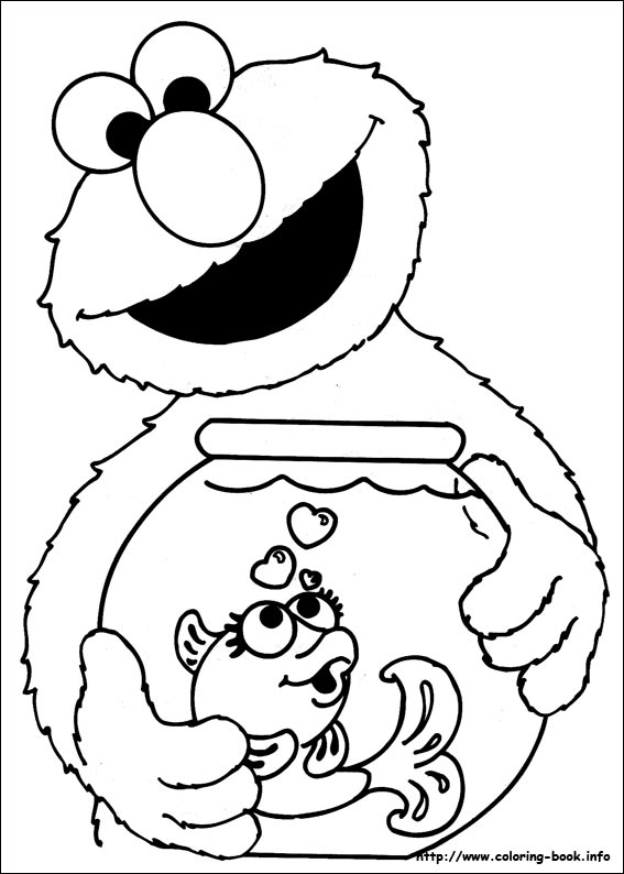 Muppet character elmo coloring pages and pictures print for Sesame street color pages