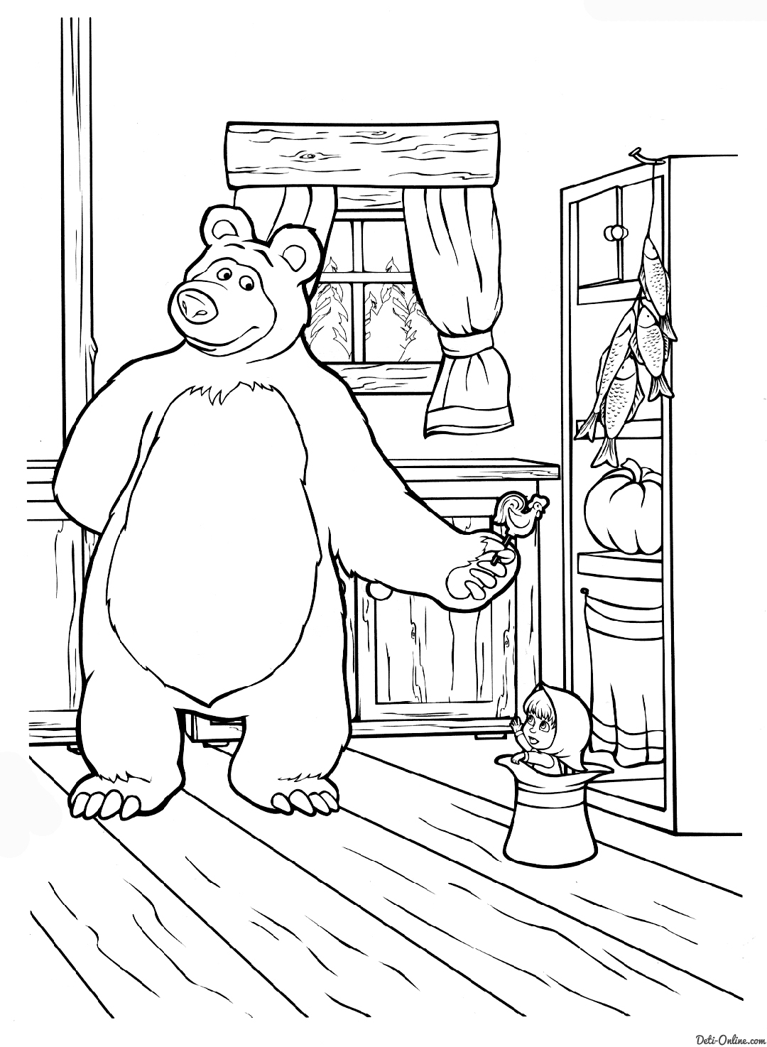 masha-and-the-bear coloring page,printable,coloring pages