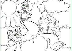 masha-and-the-bear coloring page to print,printable,coloring pages