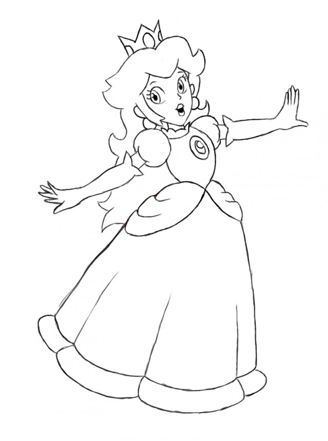 14 princess peach coloring pages for kids - Print Color Craft