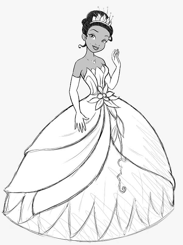 princess-tiana coloring page to print,printable,coloring pages