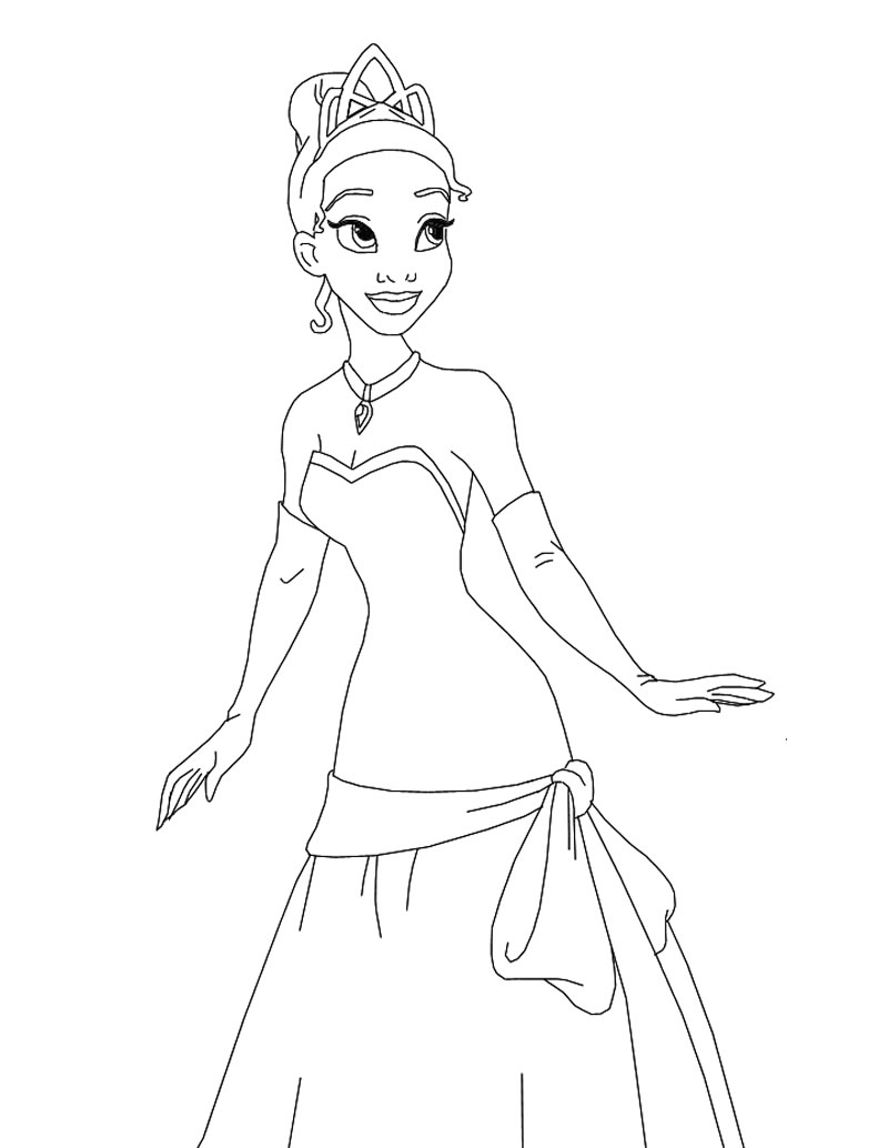 12 coloring pages of princess tiana - Print Color Craft