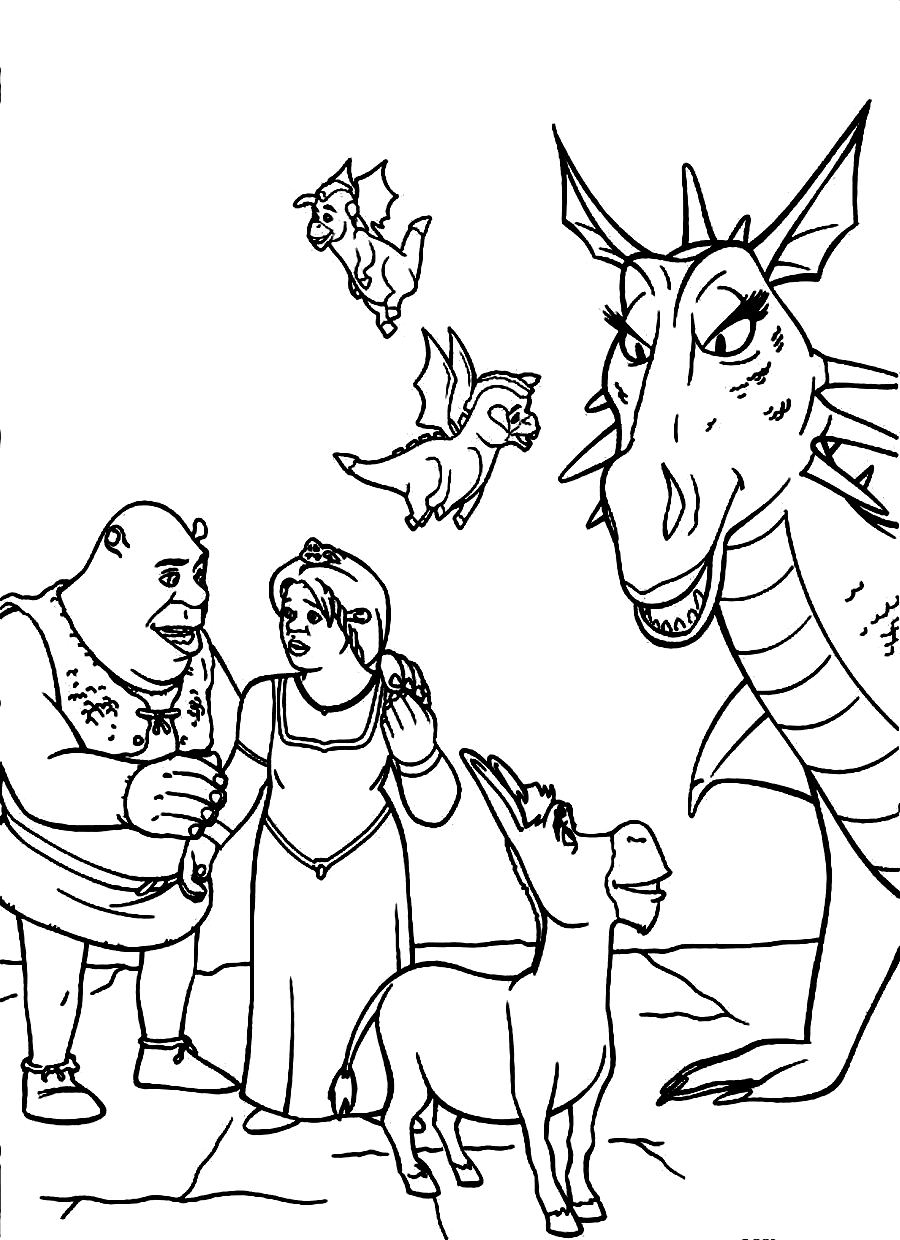 12 coloring pages of shrek print color craft
