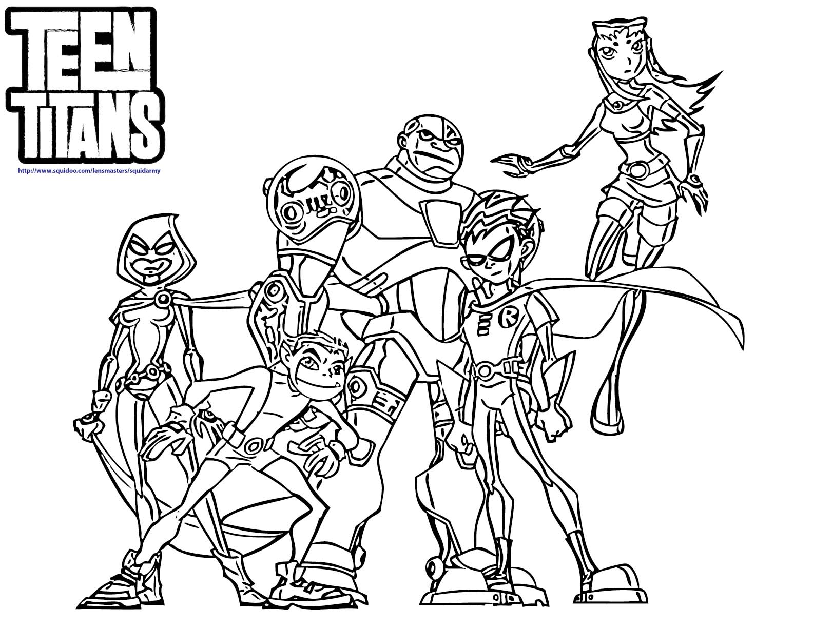 14 coloring pages of teen titans Print Color Craft
