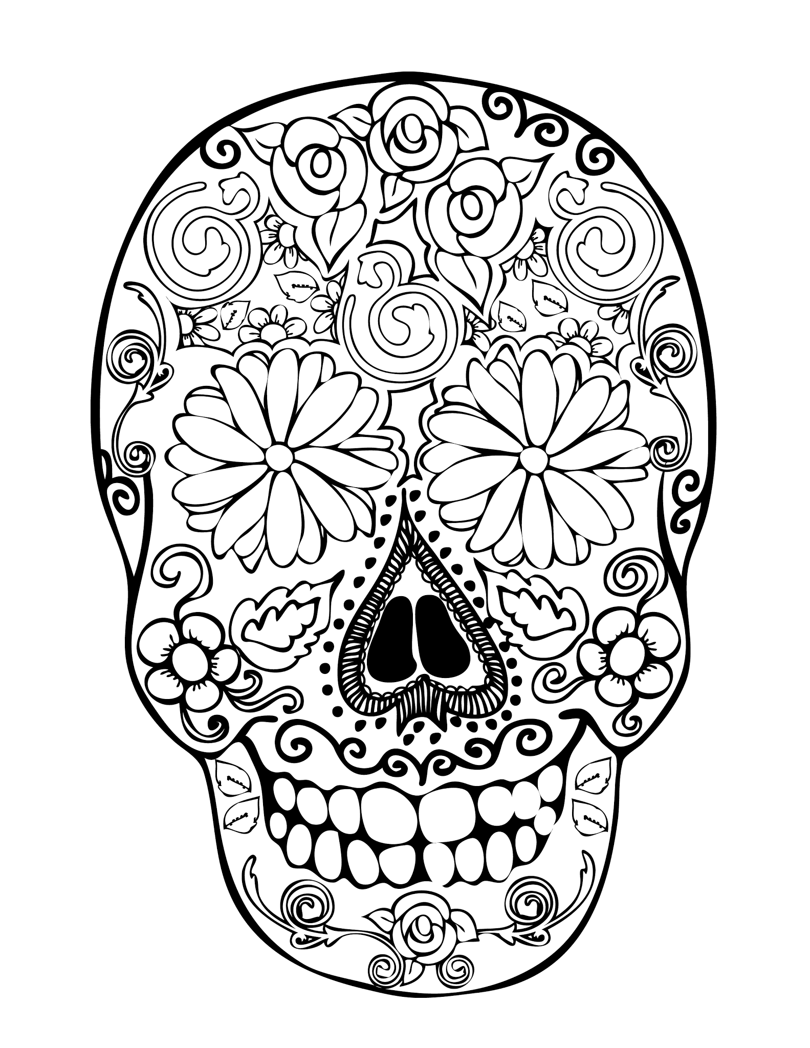 sugar skulls coloring pages - 28 skull coloring pages for kids print color craft