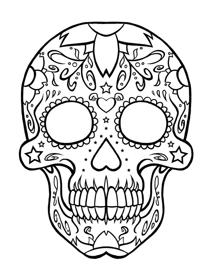 sugar-skull-free coloring page to print,printable,coloring pages