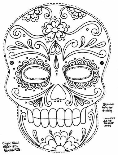 sugar-skull-free coloring pages printable,printable,coloring pages