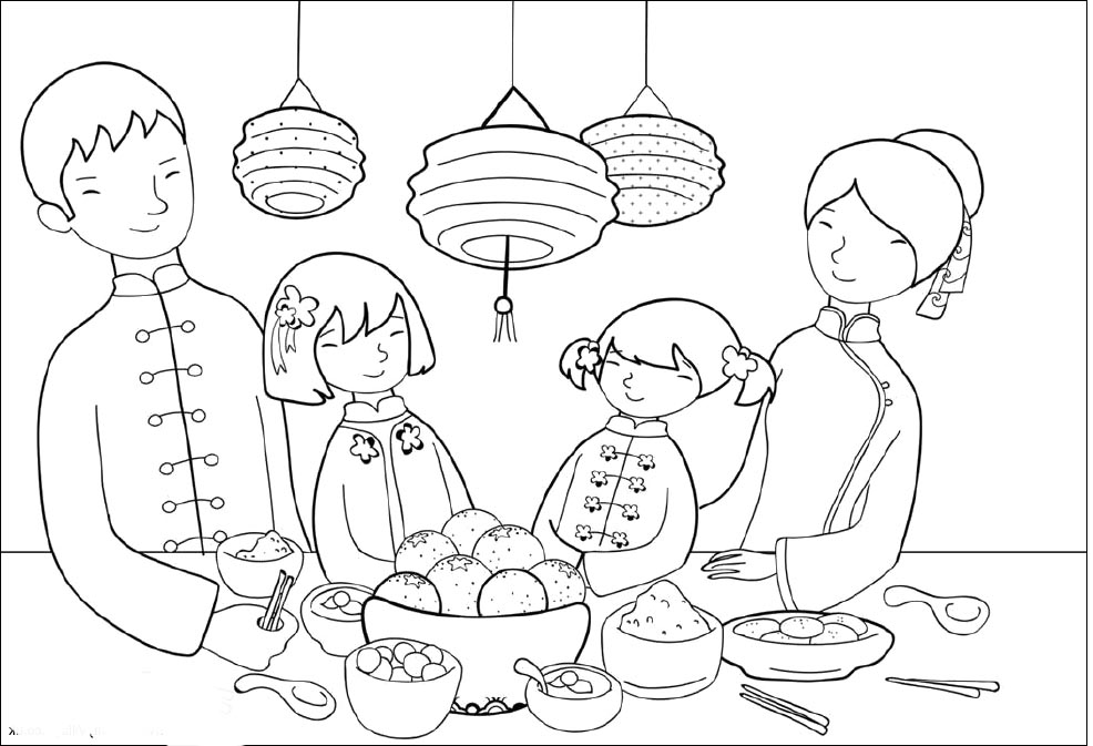 14 chinese new years day coloring page | Print Color Craft