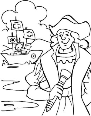 Holidays print color craft for Columbus coloring page