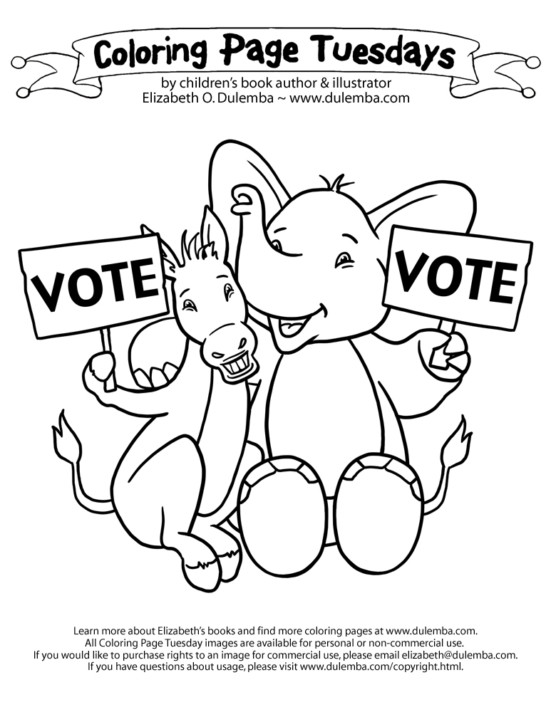 14 coloring pictures election day