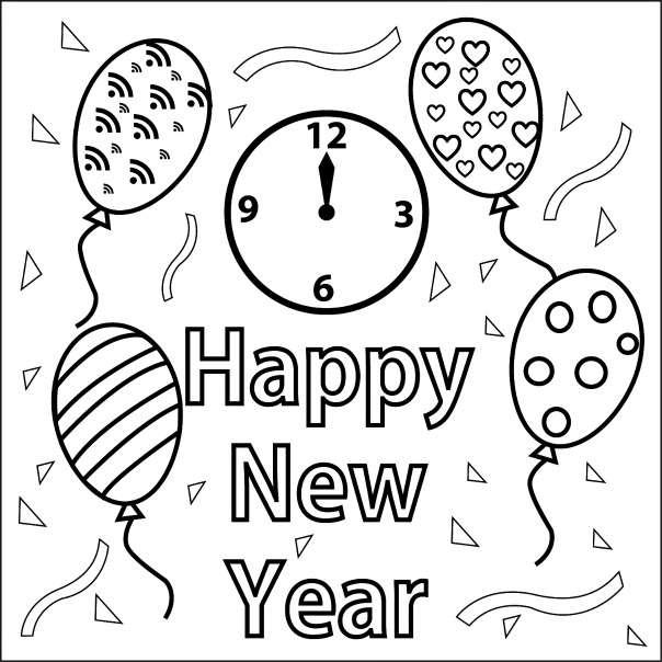 happy-new-year coloring pages printable,printable,coloring pages