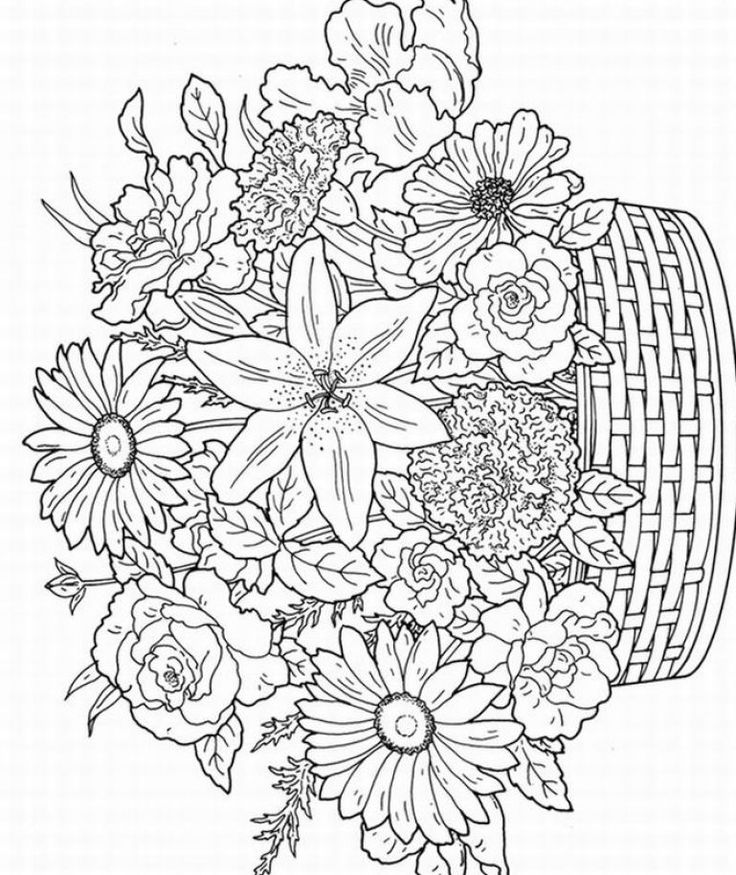 14 kids coloring pages adult flowers | Print Color Craft