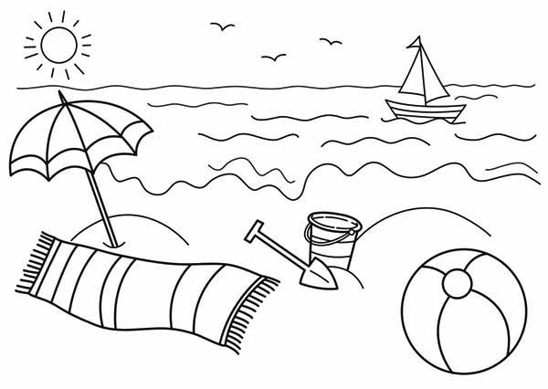 coloring pages and beach - photo#32