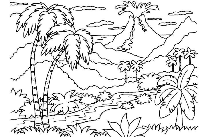 volcano coloring page to print,printable,coloring pages