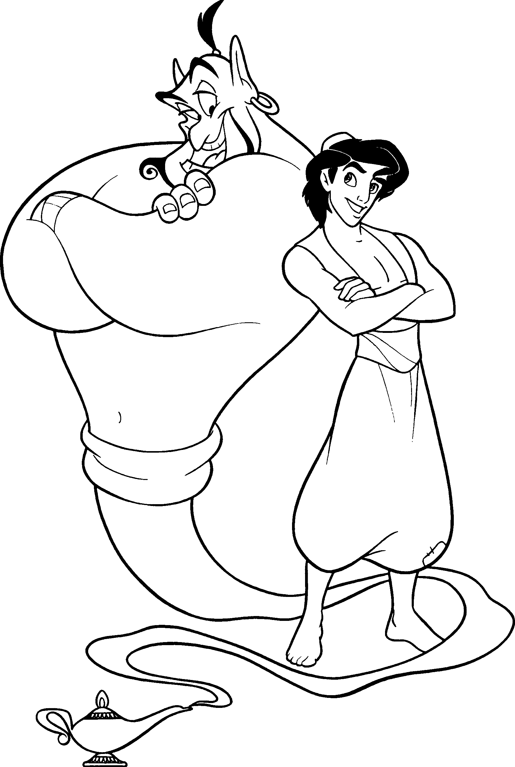 Aladdin and Genie Coloring Page
