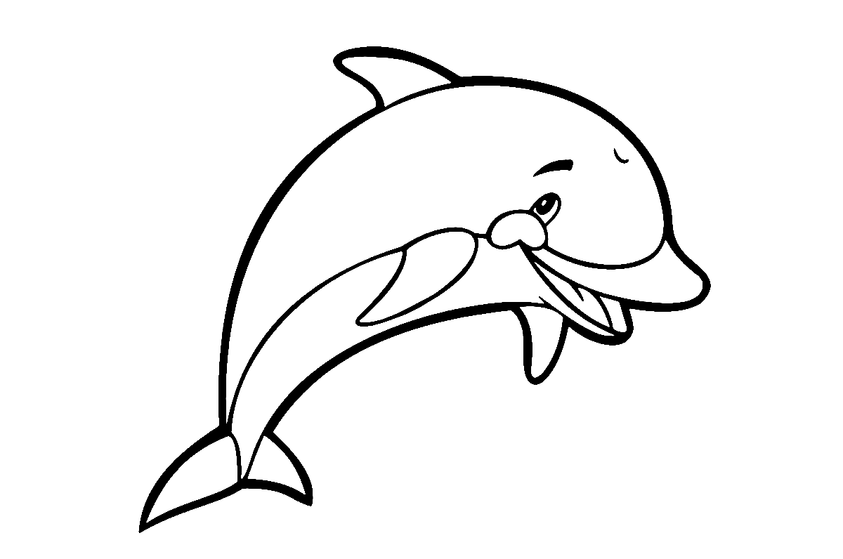 Animal Coloring Pages Happy Little Dolphin with a Cute Smile