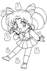 Chibi Sailor Moon Anime Coloring Pages for Kids