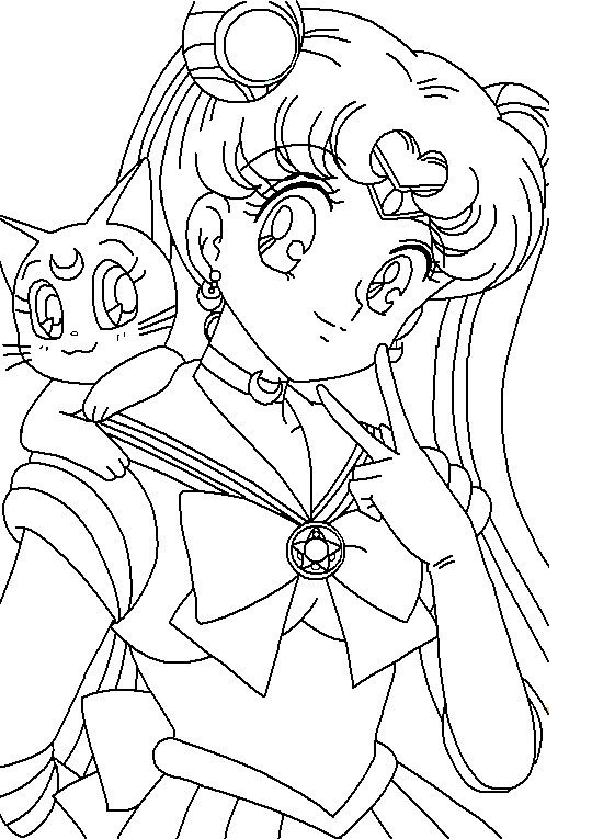 Cute Looking Sailor Moon and Luna Coloring Pages Printable Anime Pages