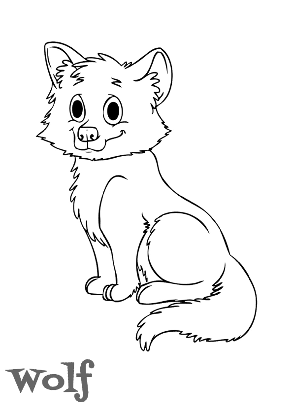 Cute Printale Wolf Coloring Pages A4 Sheet