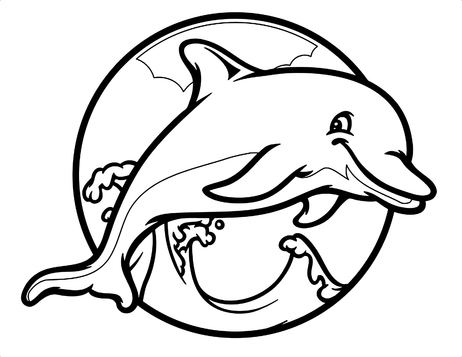 Dolphin Marine Mammals Coloring Page