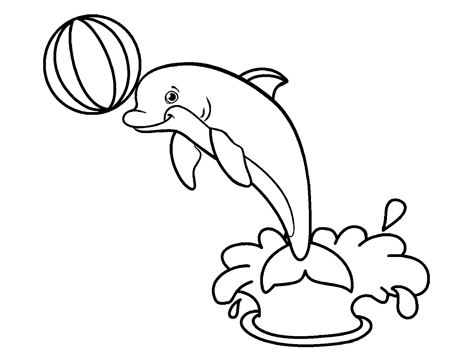 Dolphin Water-park Show Printable Coloring Page