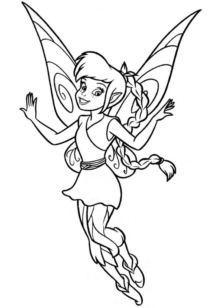 Smiling Tinkerbell coloring page | Free Printable Coloring Pages | 1000x706