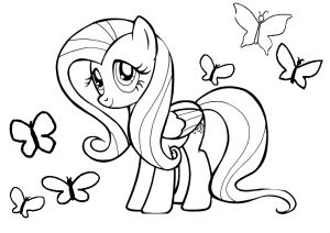 Fluttershy My Little Pony Element Kindness Coloring Pages Fluttershy with Butterflies