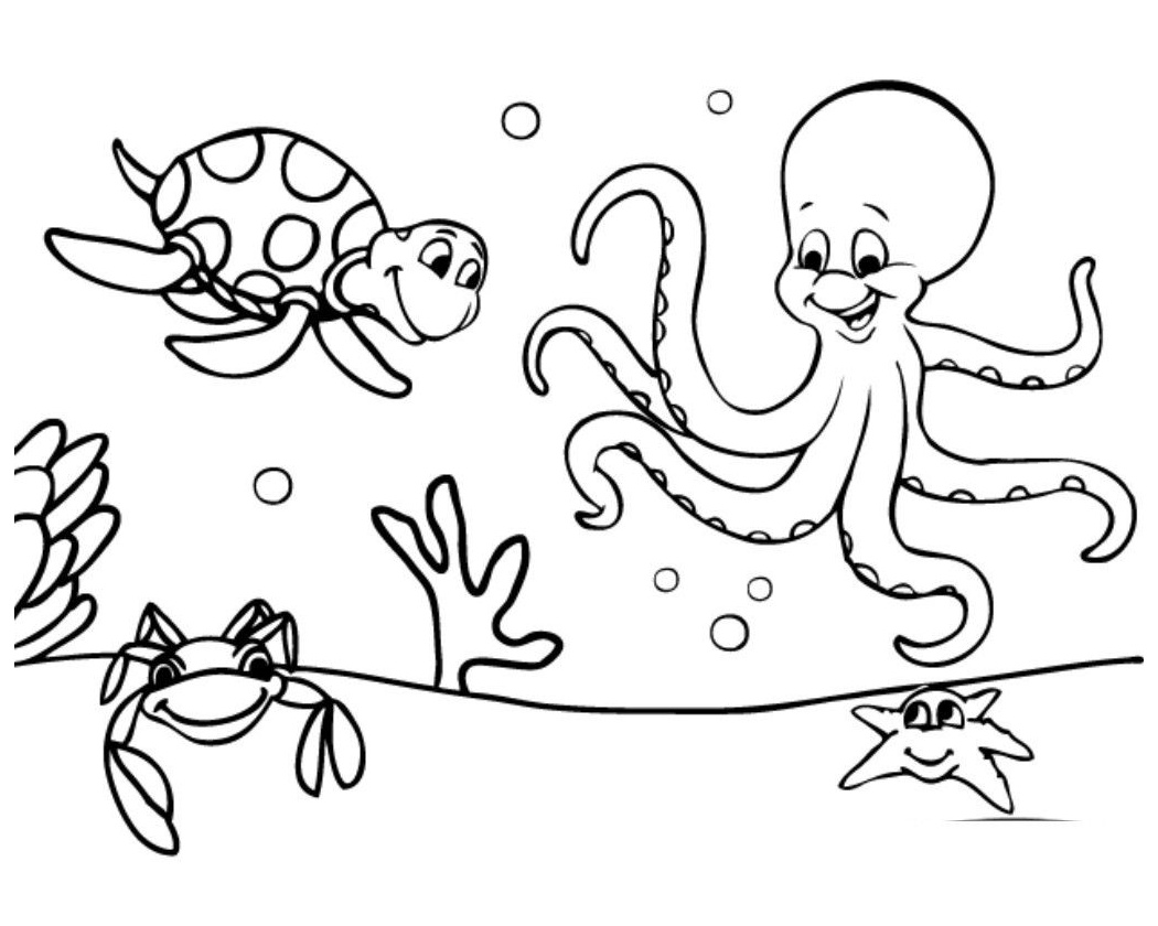 Free Easy to Color Preschool Cute Ocean Animals Coloring ...