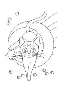 Free Printable Anime Luna Cat Sailor Moon Coloring Pages