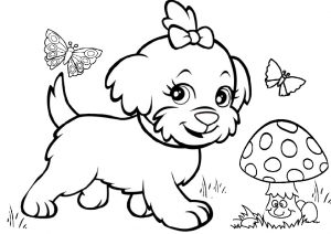 Funny Mushroom Butterflies and Cute Dog Coloring Pages
