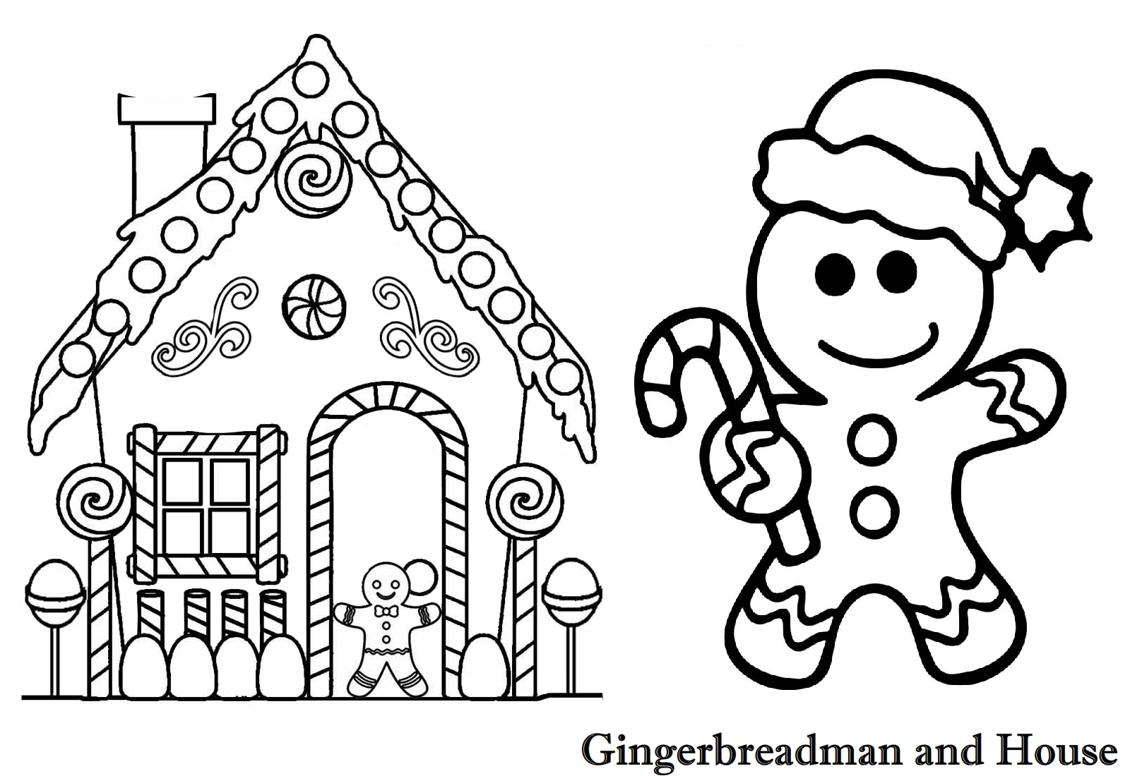 Printable Gingerbread House Coloring Pages For Kids | 1100x1600
