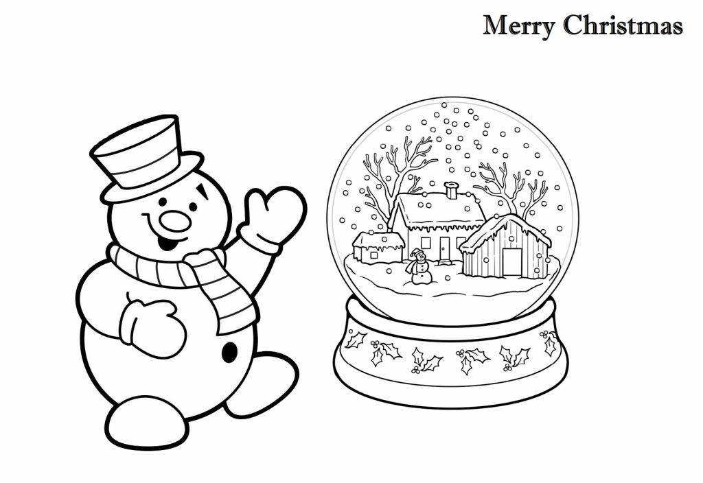 Christmas Coloring Pages Snowman and Snow globe