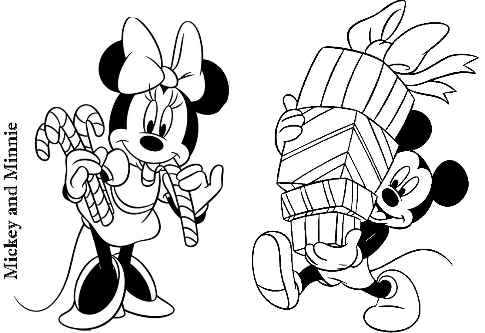 - Mickey And Minnie Christmas Coloring Page Print Color Craft Page