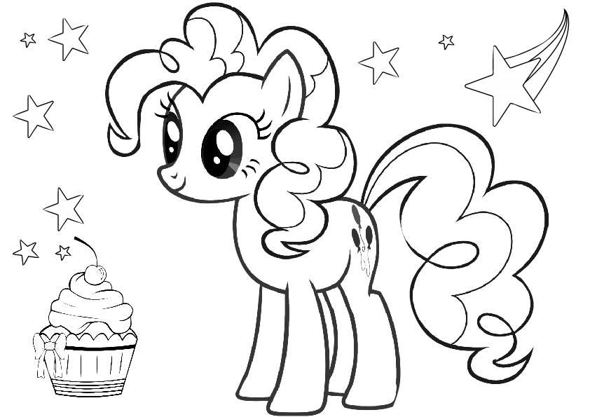 My Little Pony Element Laughter Pinkie Pie Coloring Pages Pinkie Pie with a Cupcake