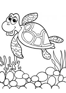 Ocean Animals Turtle Coloring Pages