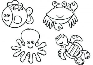 Preschool Easy to Draw Color Baby Ocean Animals Coloring Pages