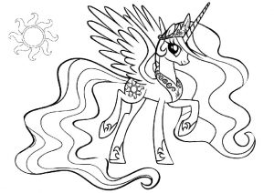Princess Celestia My Little Pony with Sun Cutie Mark Coloring Pages