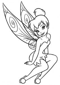 Printable Cute Princess Like Tinkerbell Fairy Coloring Pages for Kids