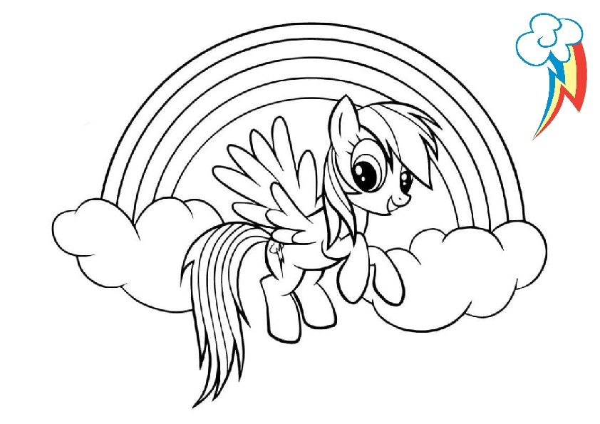 Rainbow Dash My Little Pony Coloring Pages with Cutie Mark