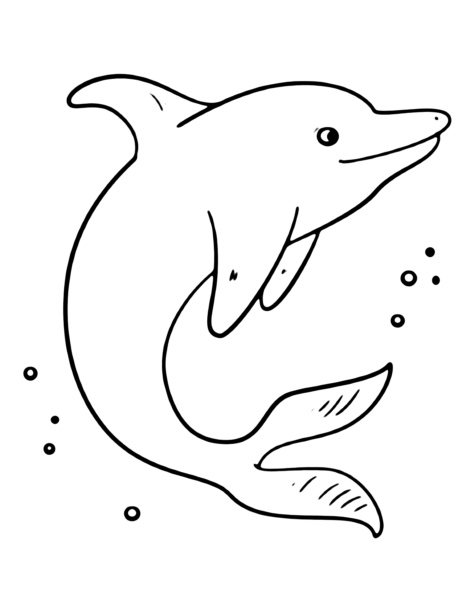 Simple and Easy to Color Dolphin Coloring Pages