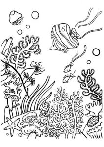 Underwater Coral Reef and Fish Ocean Coloring Pages Printable